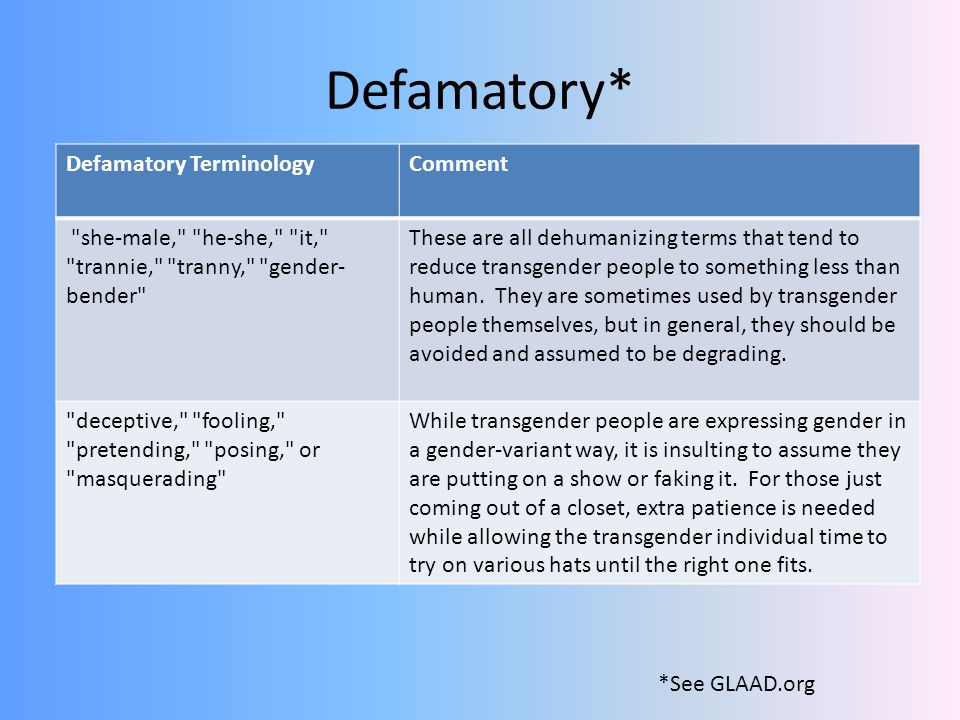 Defamatory* Defamatory Terminology Comment