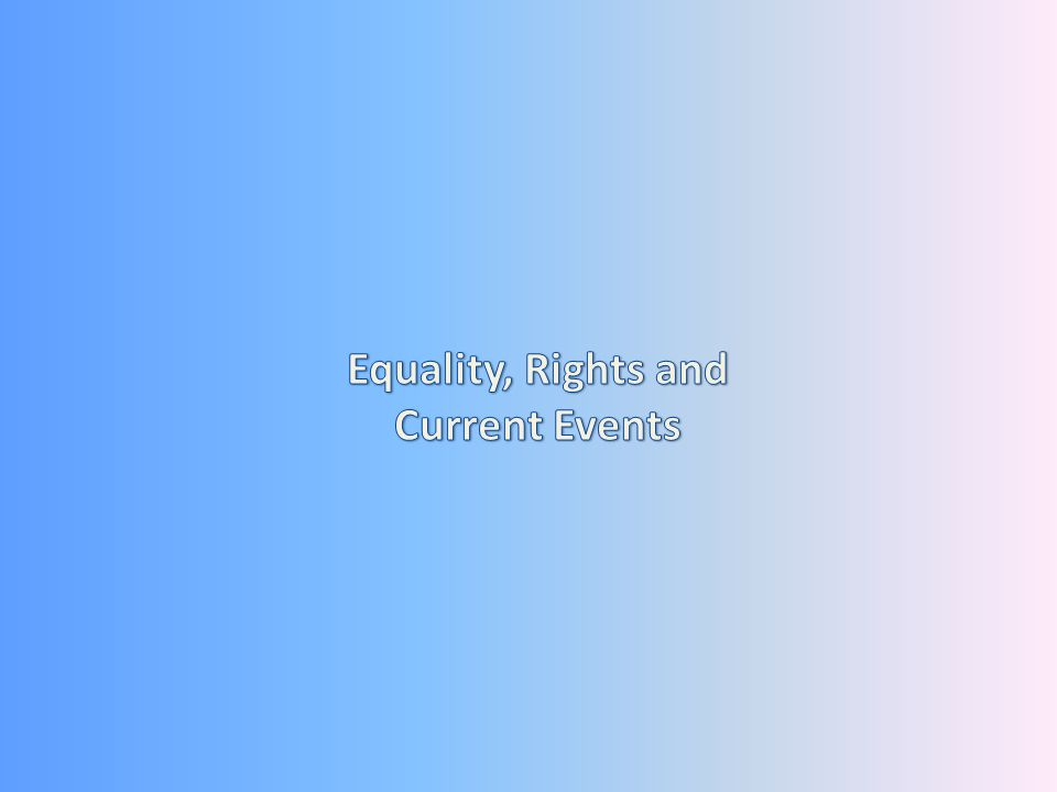 Equality, Rights and Current Events