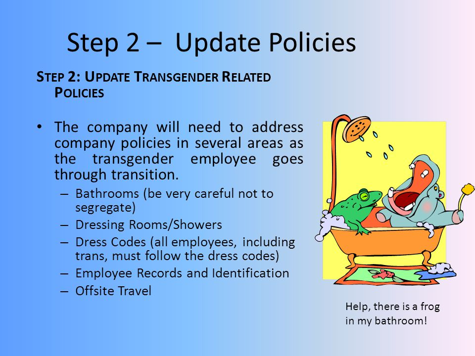 Step 2 – Update Policies Step 2: Update Transgender Related Policies