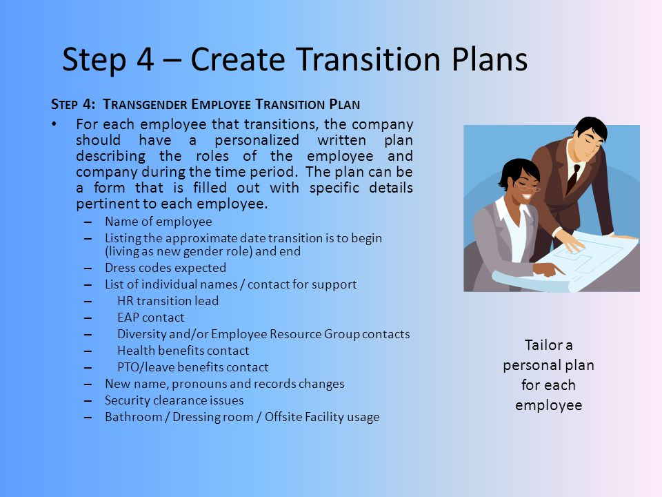 Step 4 – Create Transition Plans