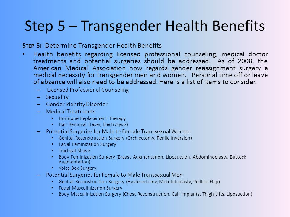 Step 5 – Transgender Health Benefits