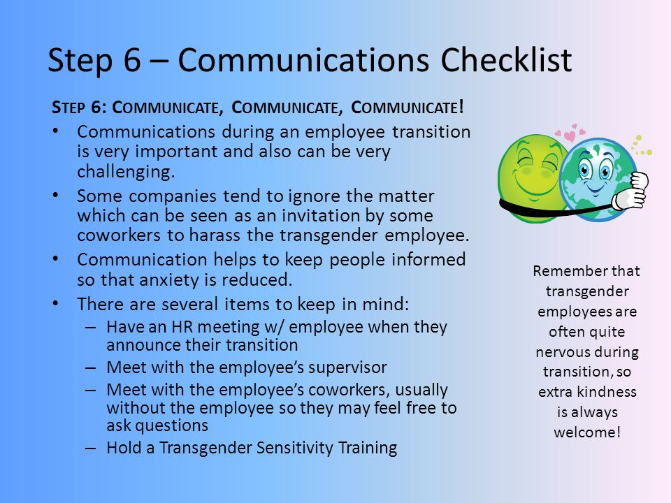 Step 6 – Communications Checklist
