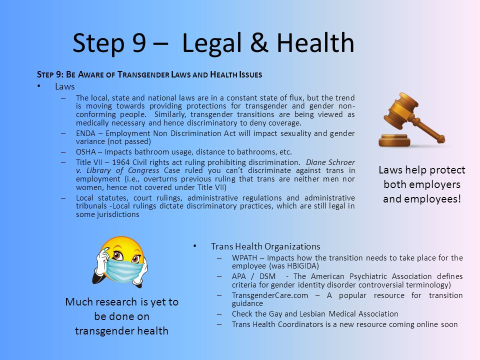 Step 9 – Legal & Health Step 9: Be Aware of Transgender Laws and Health Issues. Laws.