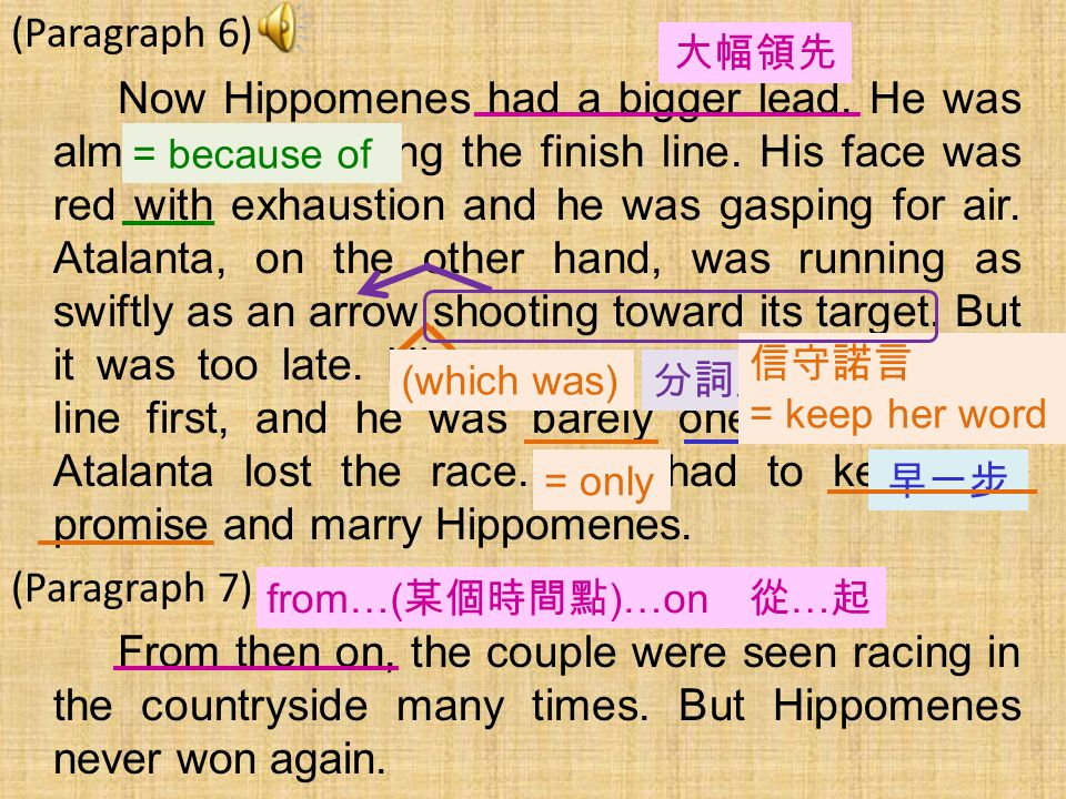 (Paragraph 6) Now Hippomenes had a bigger lead