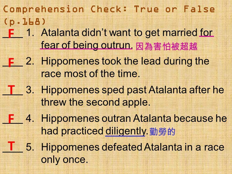 Comprehension Check: True or False (p.168)