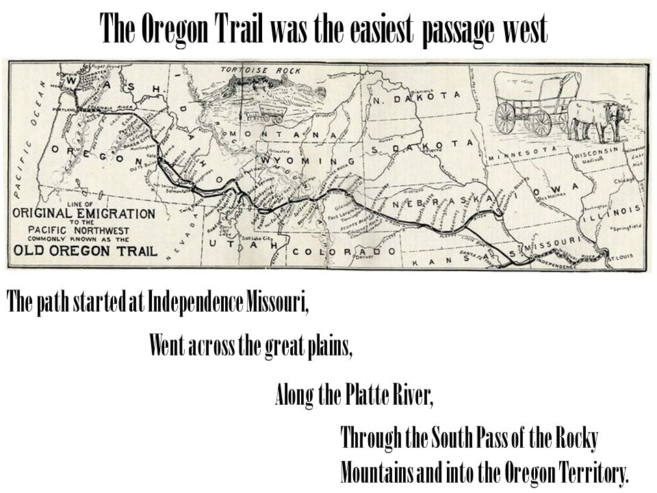 The Oregon Trail was the easiest passage west