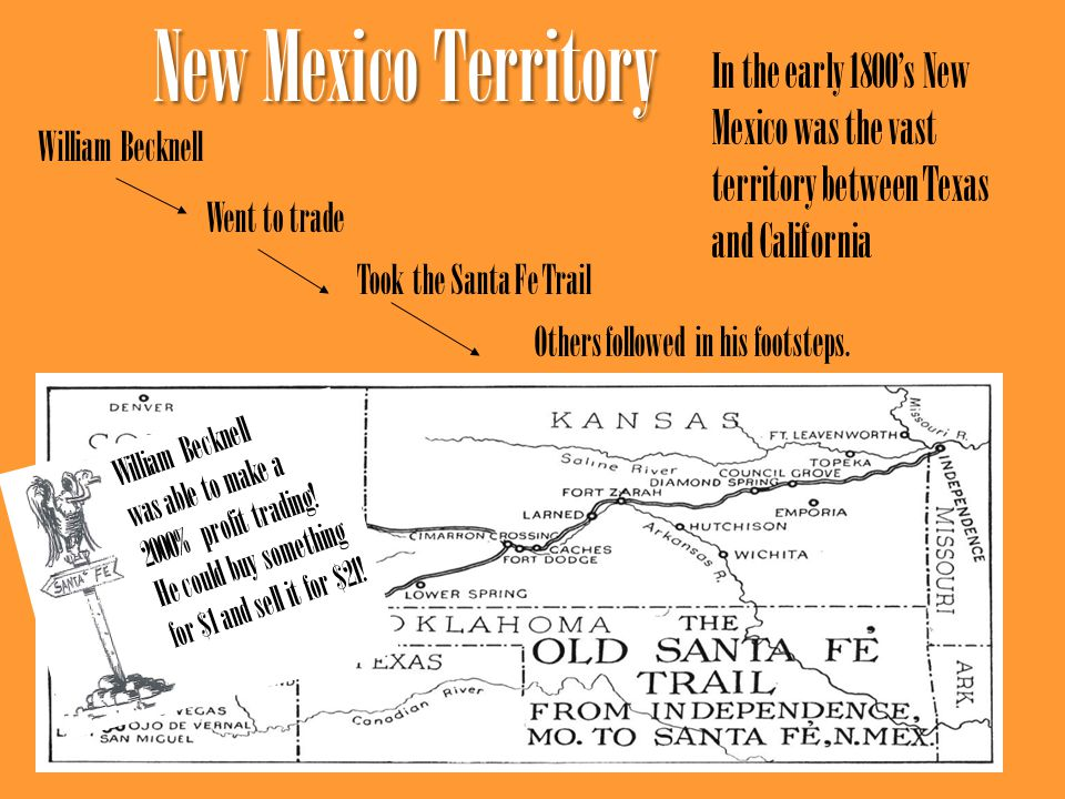 New Mexico Territory In the early 1800's New Mexico was the vast territory between Texas and California.