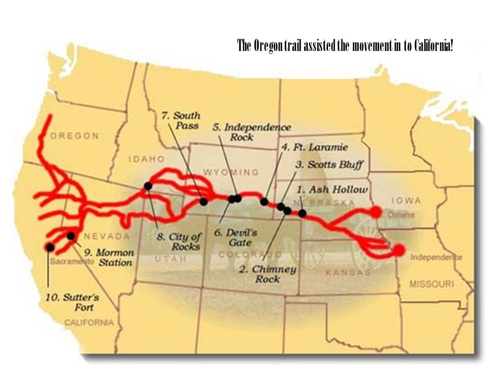 The Oregon trail assisted the movement in to California!