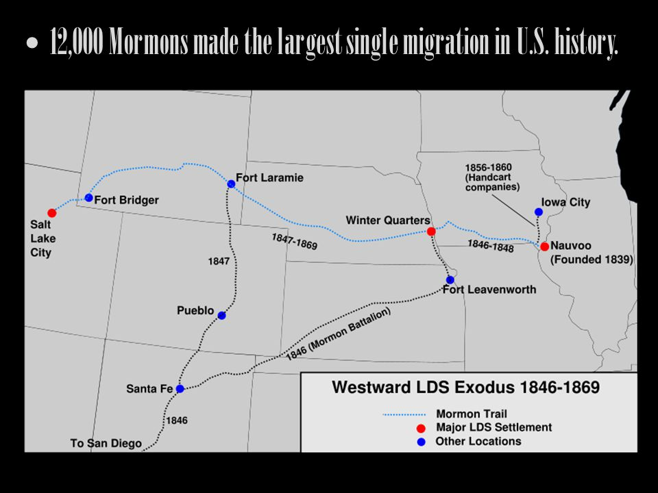 12,000 Mormons made the largest single migration in U.S. history.