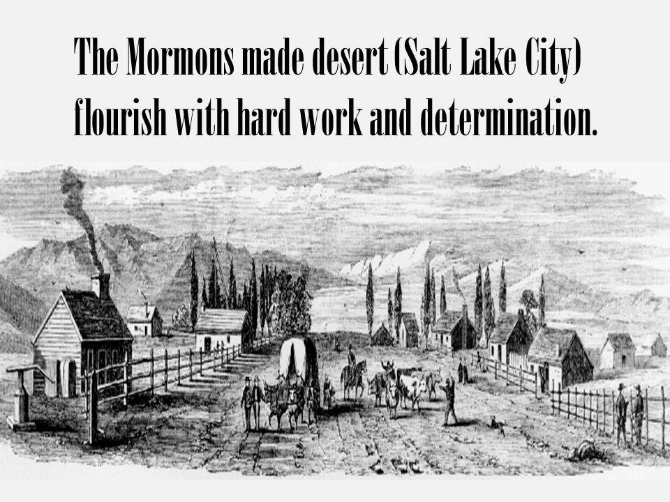 The Mormons made desert (Salt Lake City) flourish with hard work and determination.