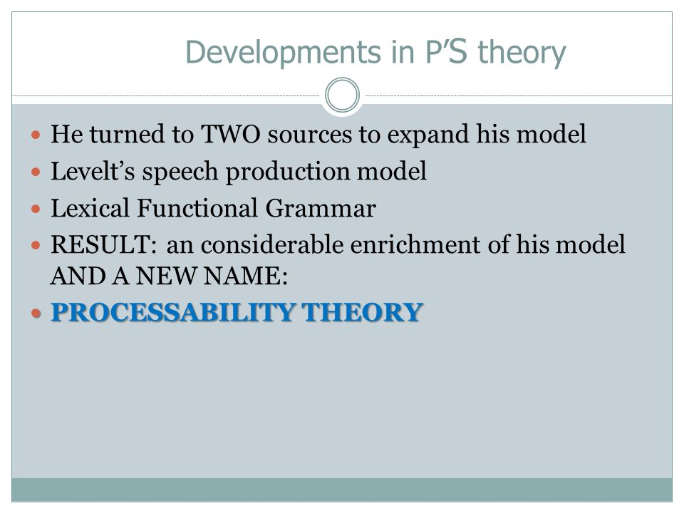 Developments in P'S theory