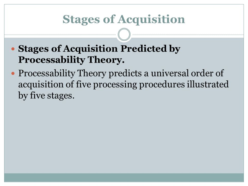 Stages of Acquisition Stages of Acquisition Predicted by Processability Theory.