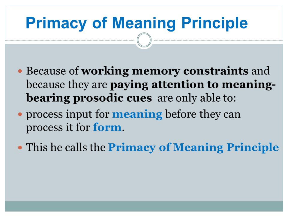 Primacy of Meaning Principle