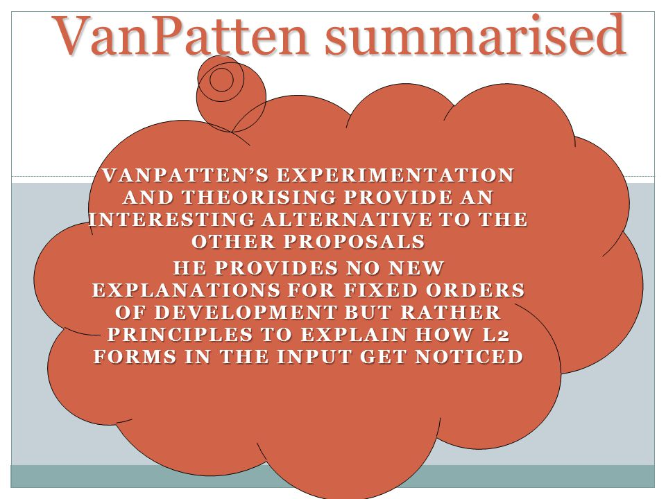 VanPatten summarised VanPatten's experimentation and theorising provide an interesting alternative to the other proposals.
