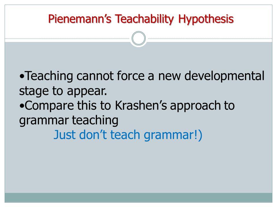 Pienemann's Teachability Hypothesis