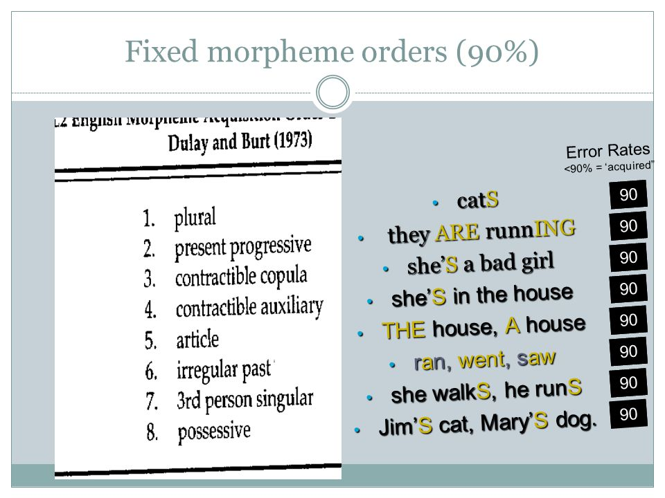 Fixed morpheme orders (90%)