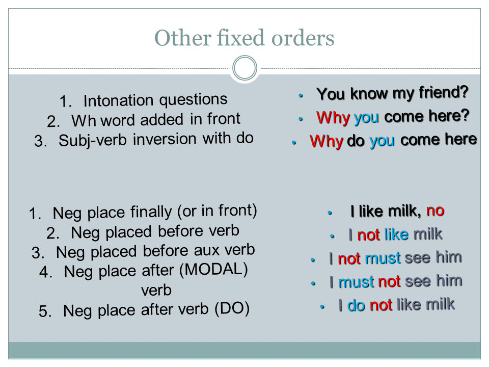 Other fixed orders You know my friend Intonation questions