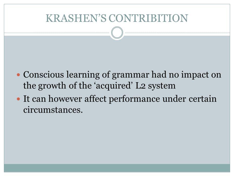 KRASHEN'S CONTRIBITION