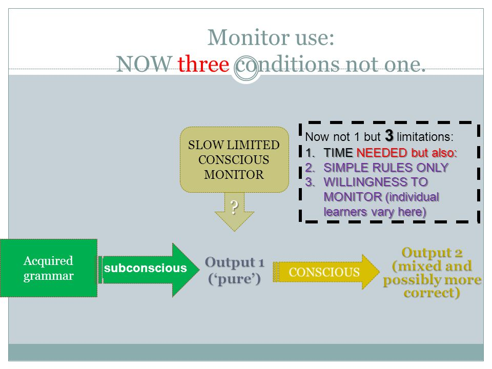 Monitor use: NOW three conditions not one.