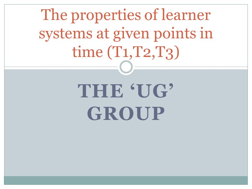 The properties of learner systems at given points in time (T1,T2,T3)