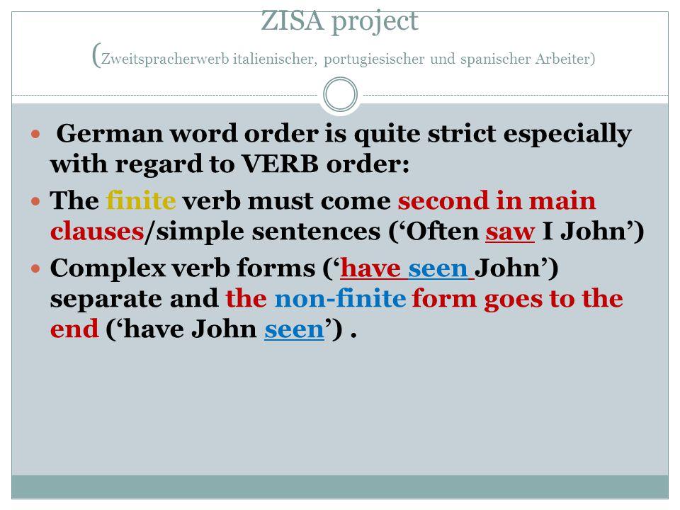 ZISA project (Zweitspracherwerb italienischer, portugiesischer und spanischer Arbeiter)
