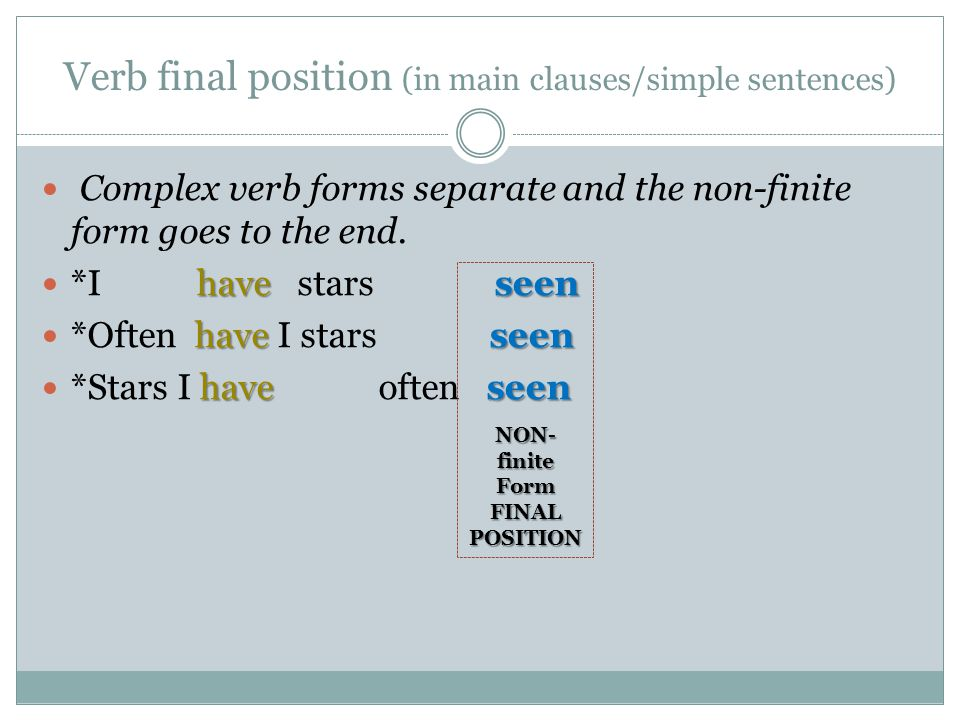 Verb final position (in main clauses/simple sentences)