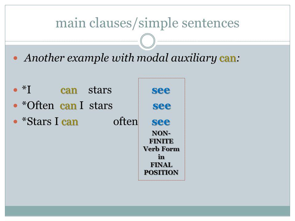 main clauses/simple sentences