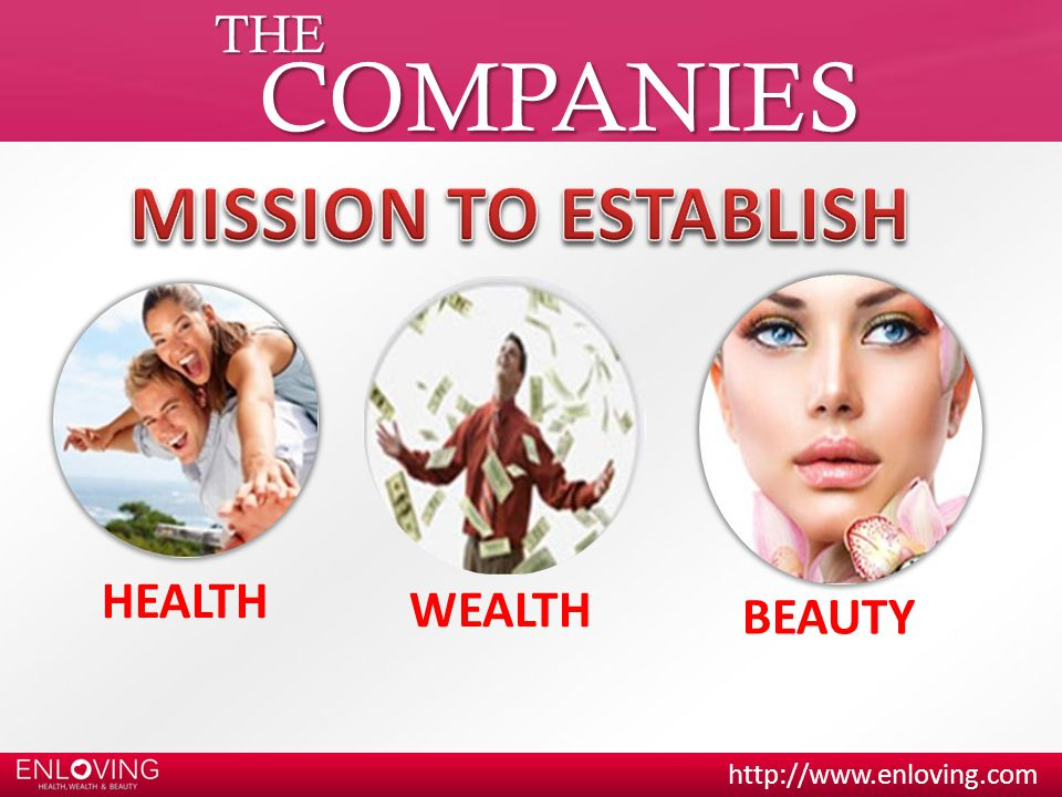 THE COMPANIES MISSION TO ESTABLISH HEALTH WEALTH BEAUTY