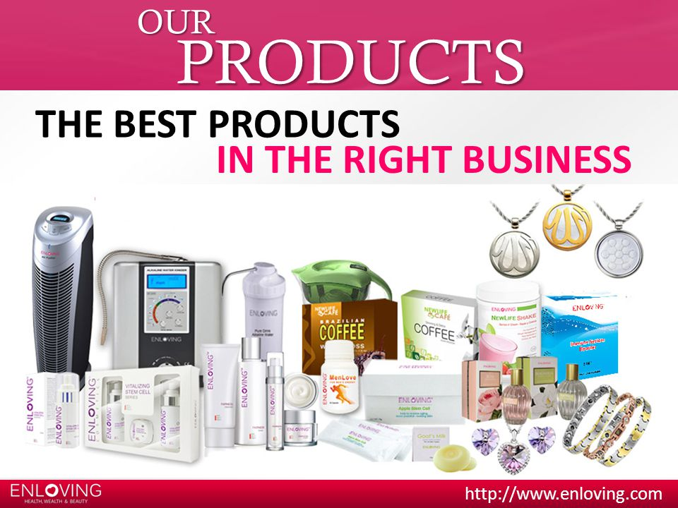 OUR PRODUCTS THE BEST PRODUCTS IN THE RIGHT BUSINESS