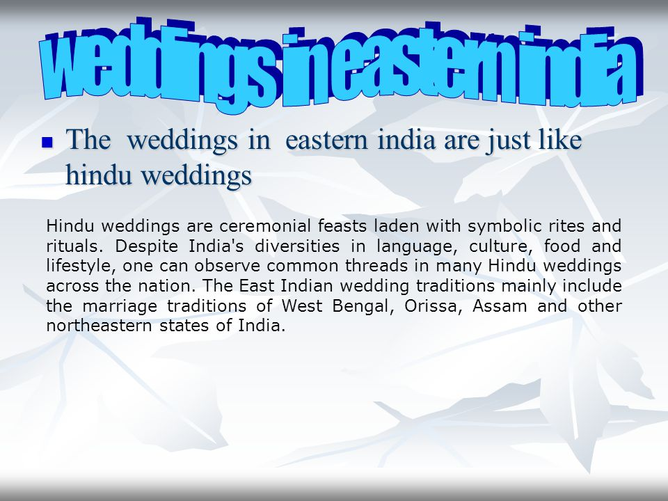 weddings in eastern india