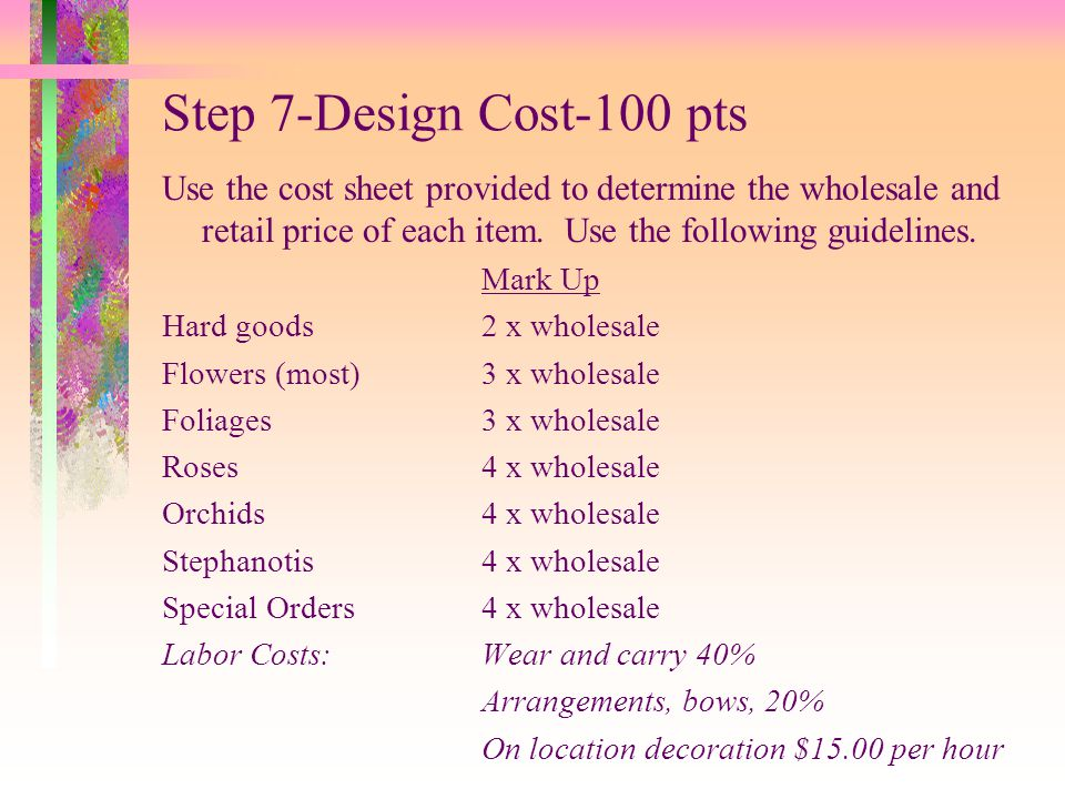 Step 7-Design Cost-100 pts Use the cost sheet provided to determine the wholesale and retail price of each item. Use the following guidelines.