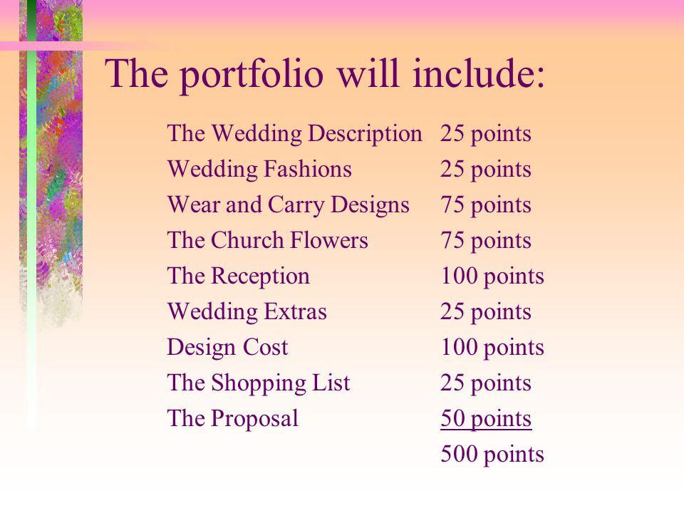 The portfolio will include: