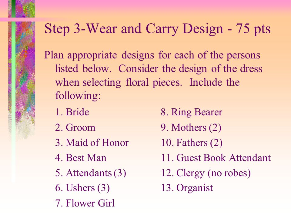 Step 3-Wear and Carry Design - 75 pts
