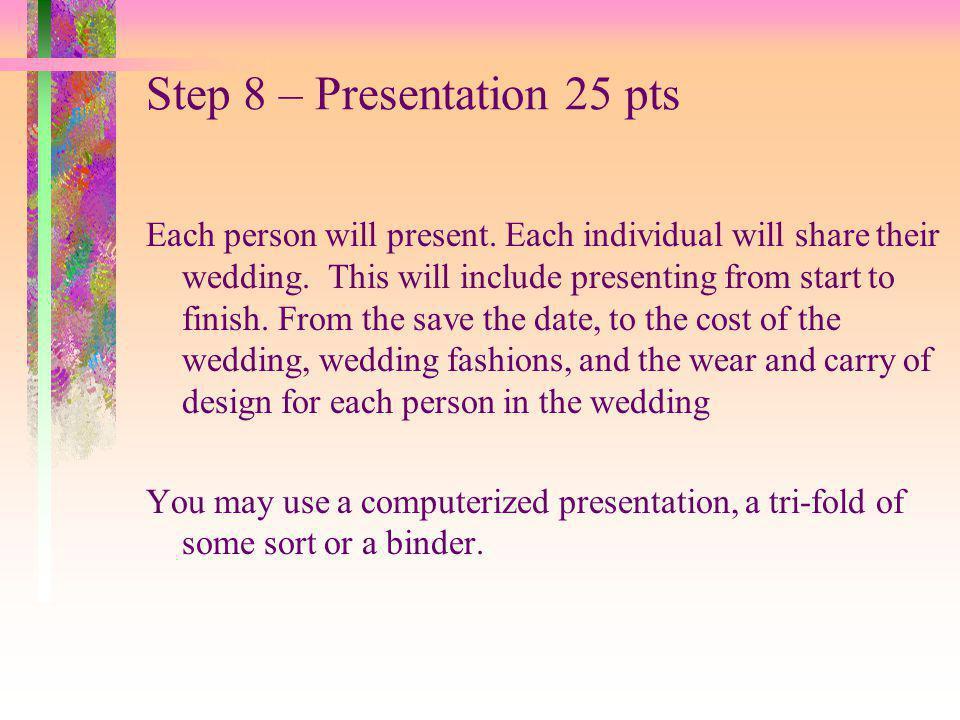Step 8 – Presentation 25 pts