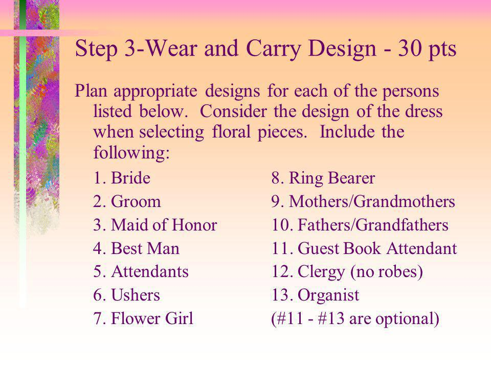 Step 3-Wear and Carry Design - 30 pts