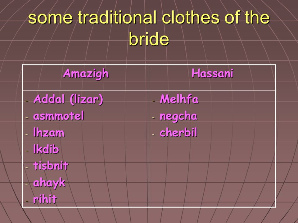 some traditional clothes of the bride
