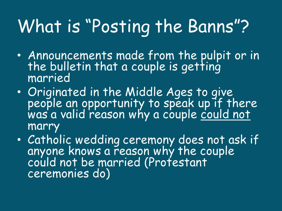 What is Posting the Banns