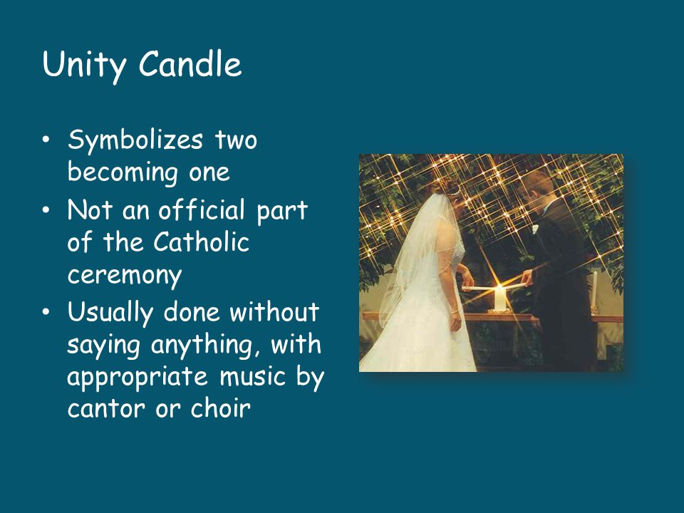 Unity Candle Symbolizes two becoming one