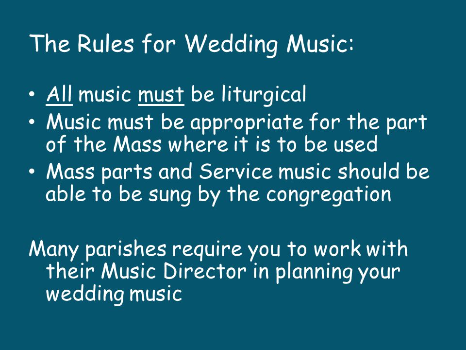 The Rules for Wedding Music: