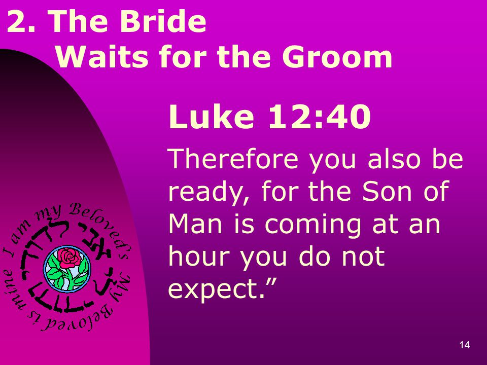Luke 12:40 2. The Bride Waits for the Groom