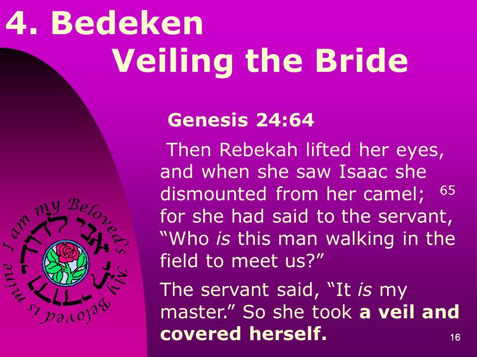 4. Bedeken Veiling the Bride Genesis 24:64