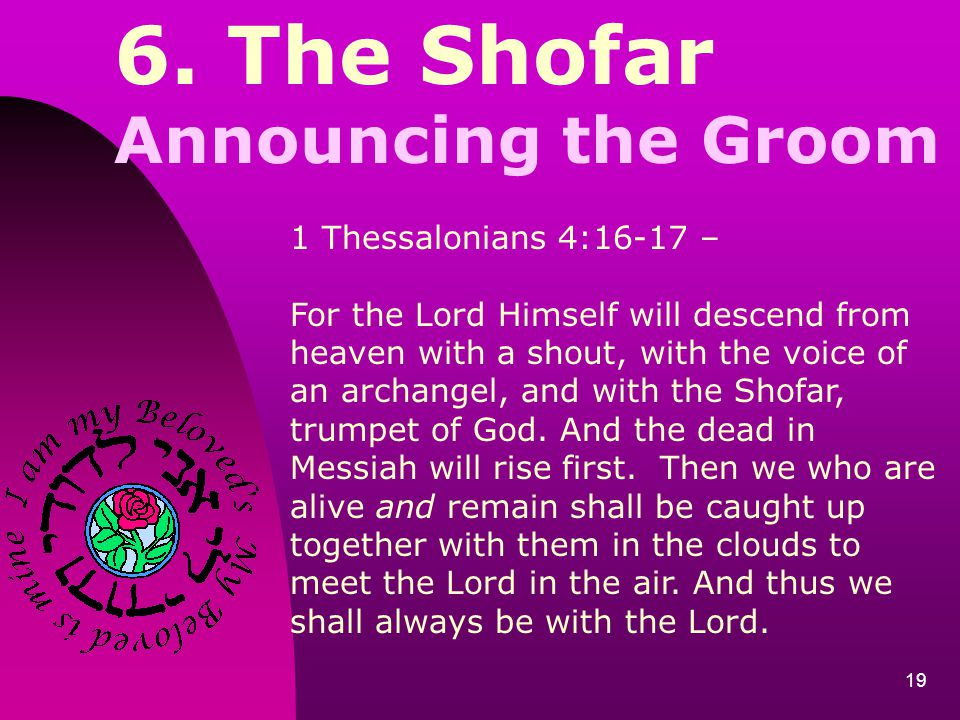 6. The Shofar Announcing the Groom 1 Thessalonians 4:16-17 –