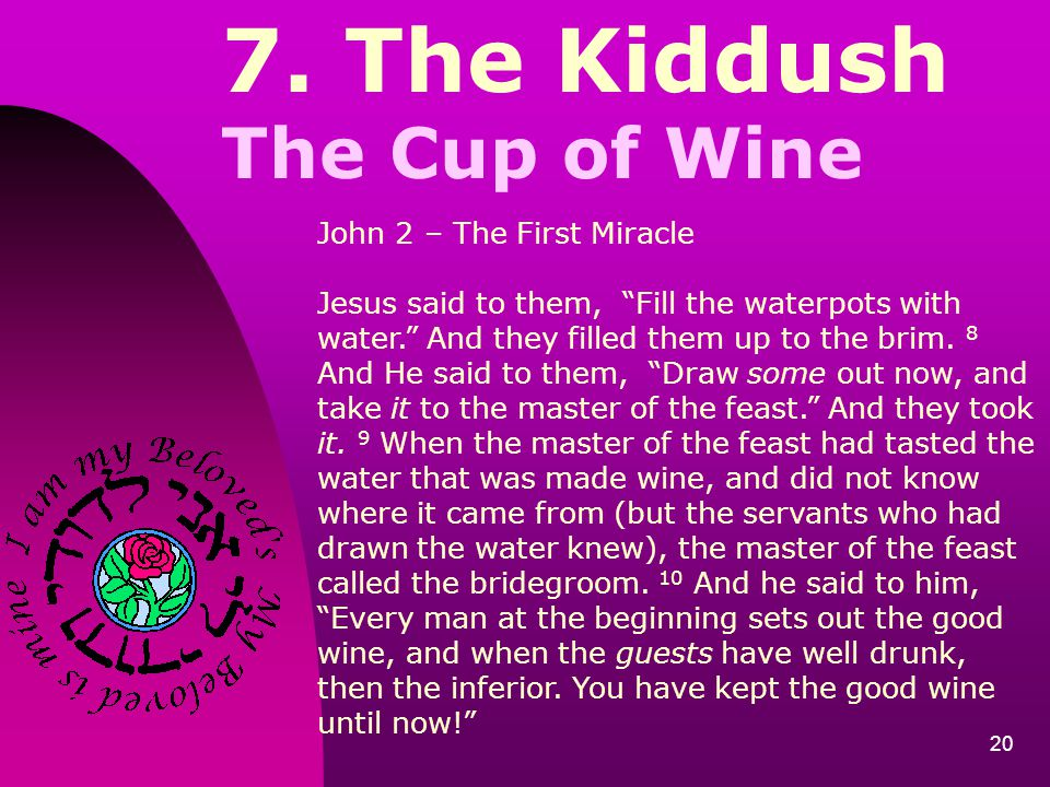7. The Kiddush The Cup of Wine John 2 – The First Miracle