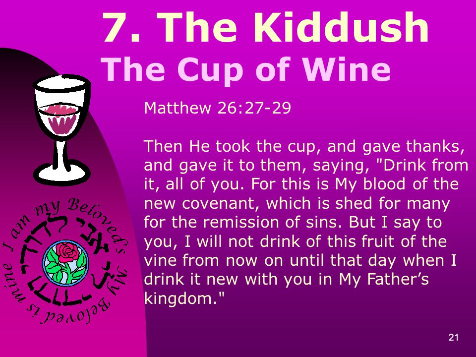 7. The Kiddush The Cup of Wine Matthew 26:27-29