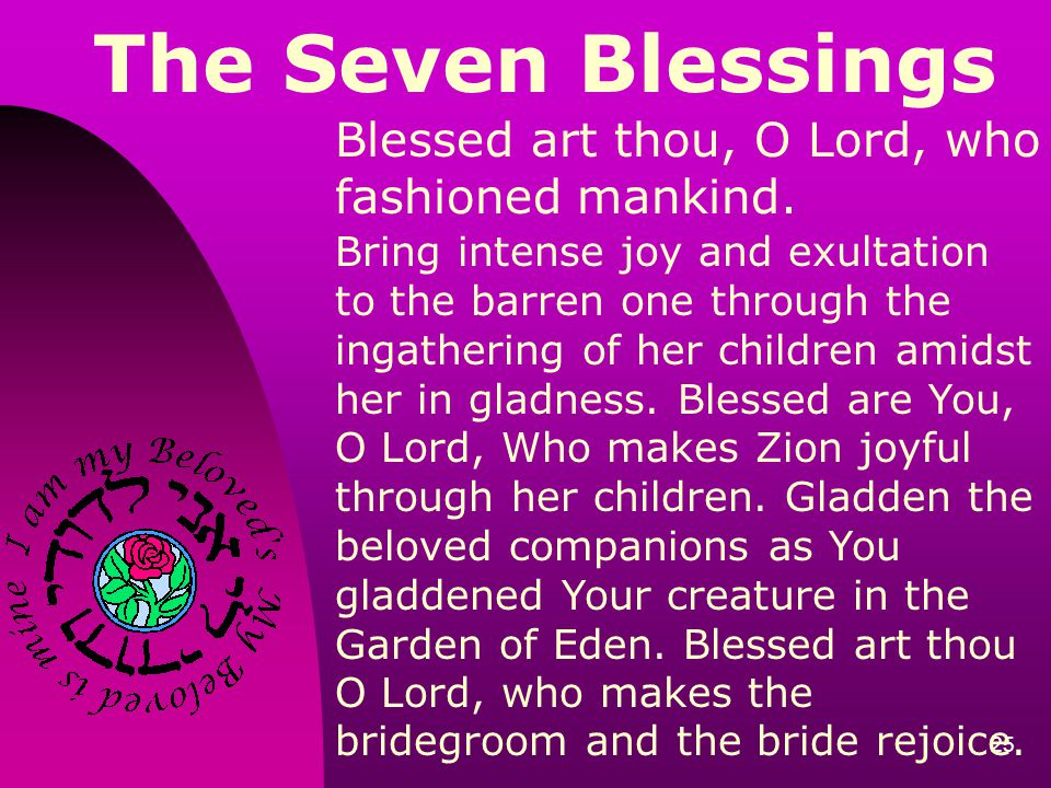 The Seven Blessings Blessed art thou, O Lord, who fashioned mankind.