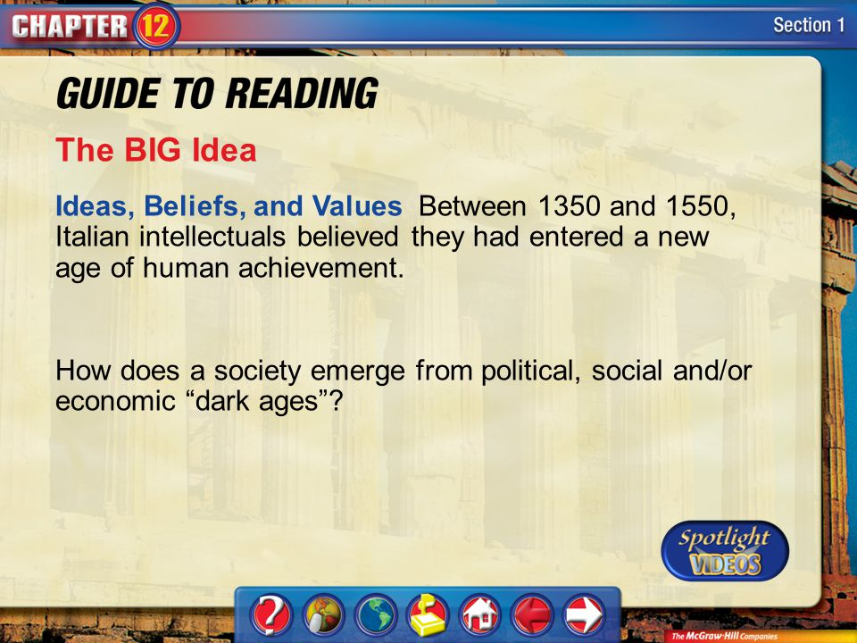 The BIG Idea Ideas, Beliefs, and Values Between 1350 and 1550, Italian intellectuals believed they had entered a new age of human achievement.