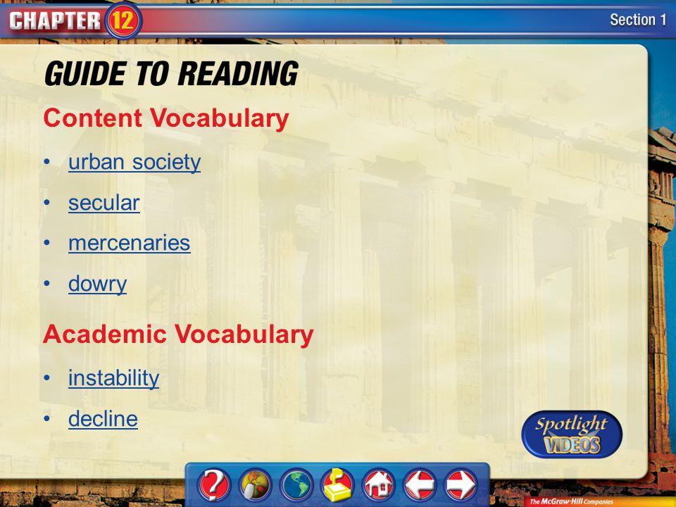 Content Vocabulary Academic Vocabulary urban society secular