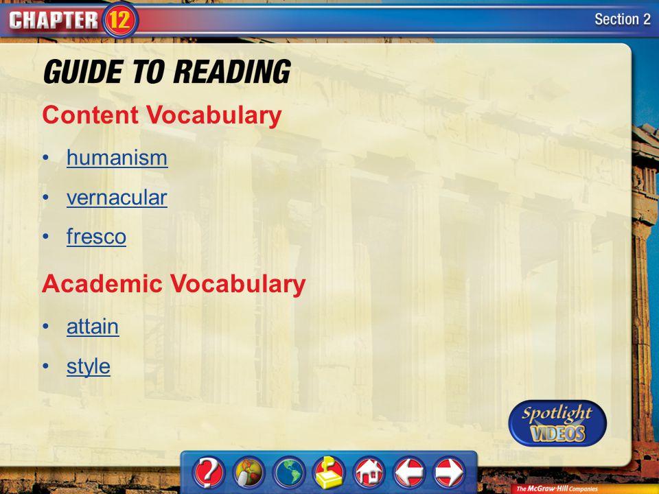 Content Vocabulary Academic Vocabulary humanism vernacular fresco