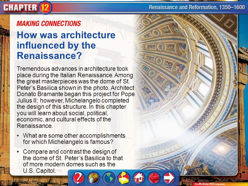 How was architecture influenced by the Renaissance