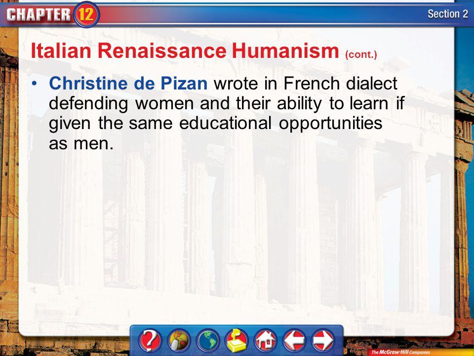 Italian Renaissance Humanism (cont.)